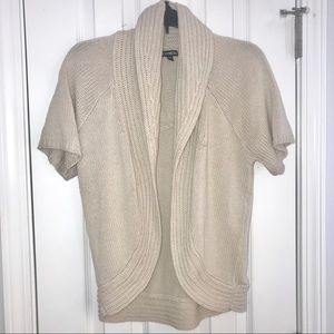Express Shawl Collar Shrug Crop Open Sweater Beige